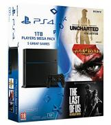 PS4 1To - Players Mega Pack God of War 3 + The Last of Us + Uncharted Collection (Jet Black)