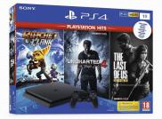 PS4 1To Playstation Hits - Pack Rachet & Clank + Uncharted 4: A Thief's End + The Last of Us Remastered